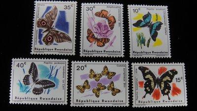 【大三元】非洲郵票-盧安達郵票-F26各國蝴蝶專題郵票~郵票6枚1套-原膠