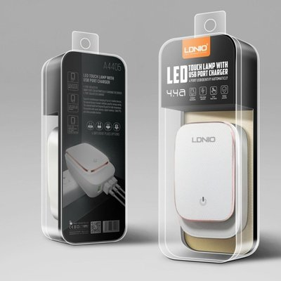 【LDNIO力德諾】4孔USB充電口+LED觸摸感應燈 A4405 5V 4.4A