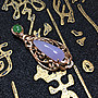 珍奇翡翠珠寶首飾-K金玉墜系列-天然翡翠A貨,真金鑲真鑽冰紫羅蘭18k金雕花台玉墜、附證書