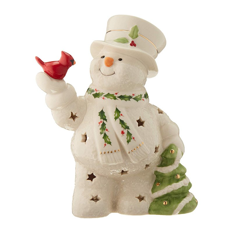 千禧禧居~Lenox 快樂冬日圣誕節大雪人圣誕樹北美紅雀陶瓷裝飾擺件工藝品