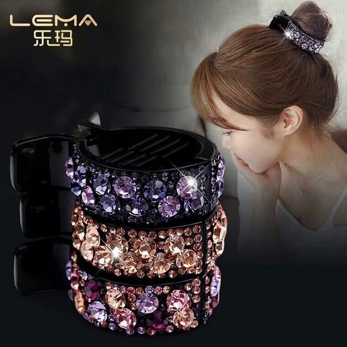 粉紅玫瑰精品屋~韓版奧地利水鑽盤髮抓夾~香檳紫