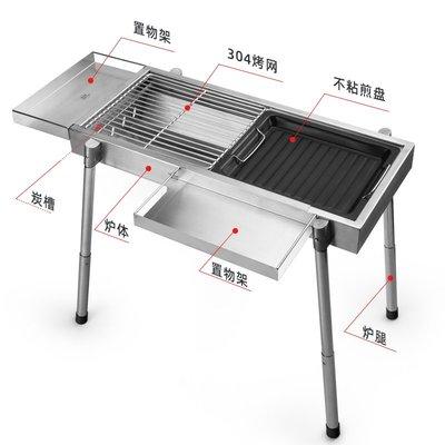 烤爐廚瑞家用304不銹鋼燒烤爐 戶外折疊碳烤肉爐木炭燒烤架子烤肉爐子燒烤
