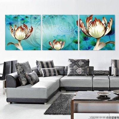 【厚2.5cm】【40*40cm】裝飾畫客廳現代臥室無框畫餐廳牆藍色花卉圖【220110_1642】3聯畫