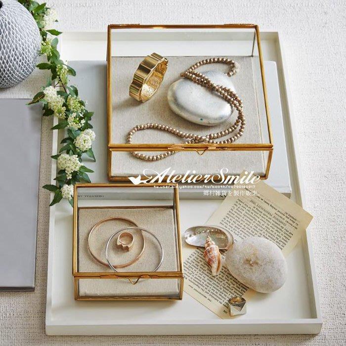 [ Atelier Smile ] 鄉村雜貨 復古歐式 手工銅製方形 玻璃展示首飾盒 收納盒 # 15.7 (特價)