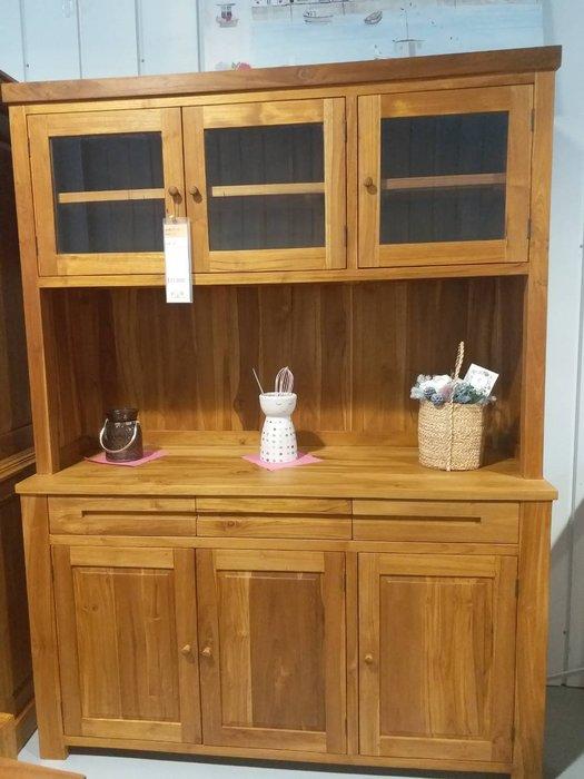 幸福家傢俱 柚木餐櫃,全實木傢俱,(廚櫃6門3抽),柚木家具