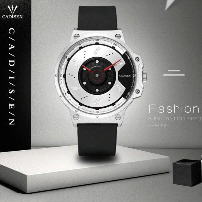 時尚超跑碟煞盤概念設計錶面 簡約配色消光外框 型男石英錶 CADISEN 卡迪森原廠正品【S & C】柒時尚