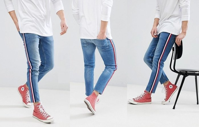 ◎美國代買◎ASOS紅藍白條紋裝飾側褲管英倫時尚運動街風運動條紋藍刷色九分牛仔褲~歐美街風~大尺碼~