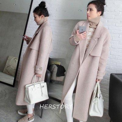 *Herstory*【現貨。免運費】。好版型質感羊毛保暖長大衣 外套 夾克 風衣 大衣 毛衣 羽絨 羊毛 針織 韓國