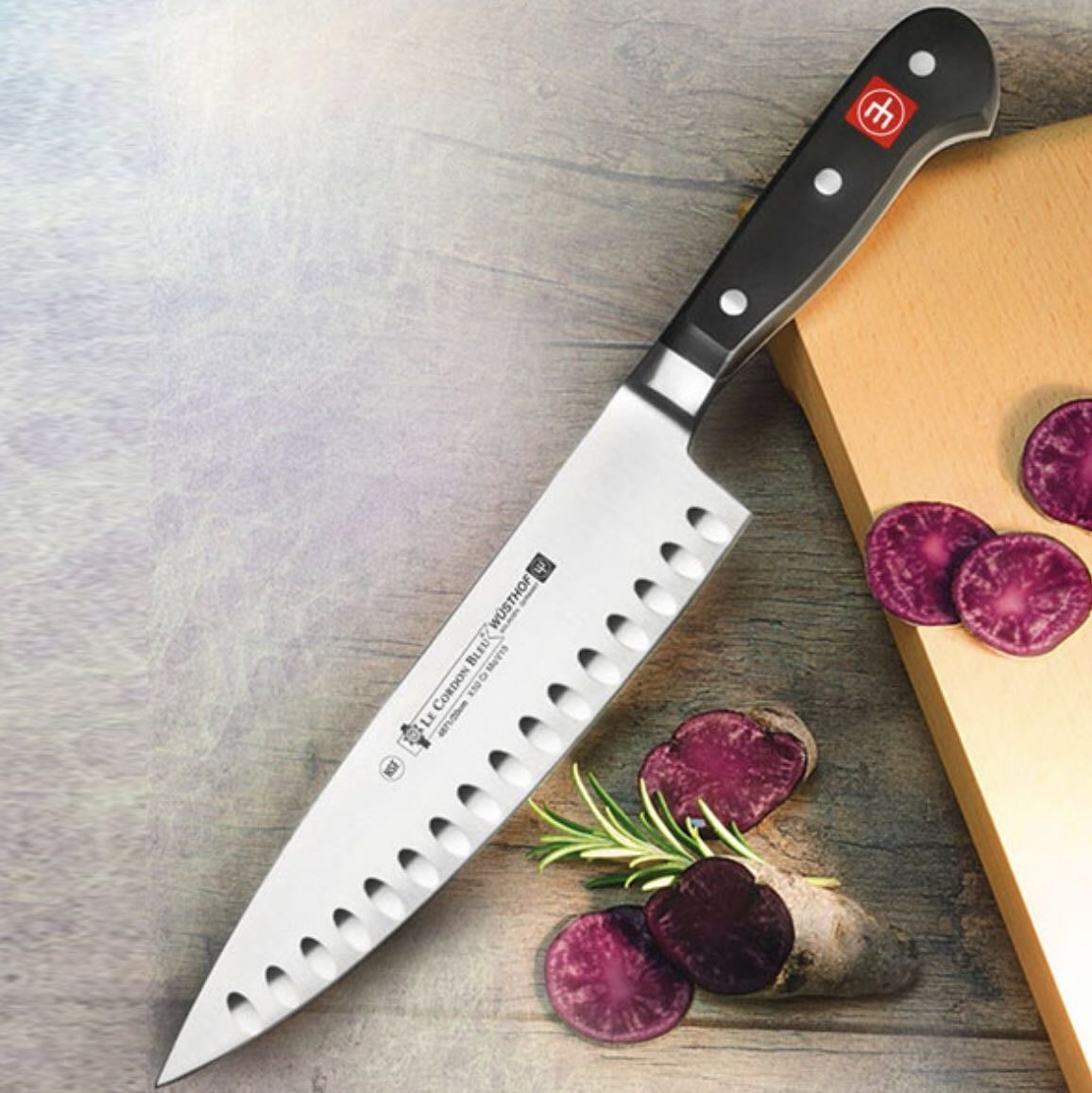 藍帶絕版刀~德國三叉牌Le Cordon Bleu藍帶20公分氣巢式主廚刀