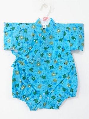 ✪胖達屋日貨✪包屁衣 80cm 水藍底 青蛙 日本製 男 寶寶 兒童 日式和服 浴衣 甚平 抓周 收涎 攝影
