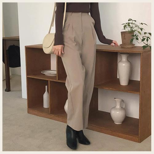 。Styleon。正韓。秋冬微高腰摺線刷毛西裝褲。韓國連線。韓國空運。1111。【hk10cher2628】