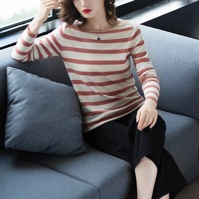 羊毛 衫 一字領毛衣-條紋修身經典長袖女針織衫4色73uj42[獨家進口][米蘭精品]