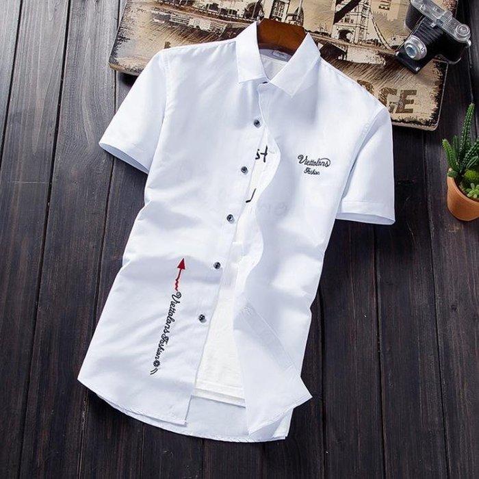 麥麥部落 襯衫—夏季白色短袖襯衫男士正韓修身款款青少年半袖襯衣潮男MB9D8