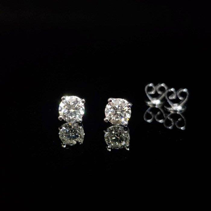 送禮禮物禮品 全新品 GIA鑽石耳環 鑽石每顆50分 完美車工 8心8箭 750K金四爪耳針扣 大眾當舖 編號5989
