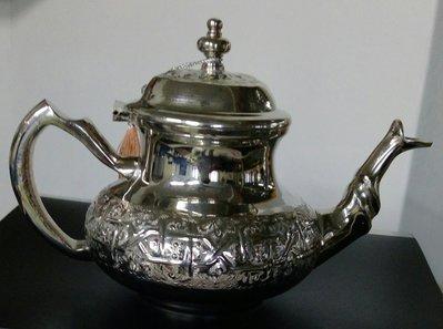 76摩洛哥鍍銀銅壺 New unused Moroccan silver teapot