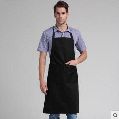 【優上】圍裙韓版廚房工作服做飯圍腰咖啡店韓式成人男士圍裙「黑色「男女同款」