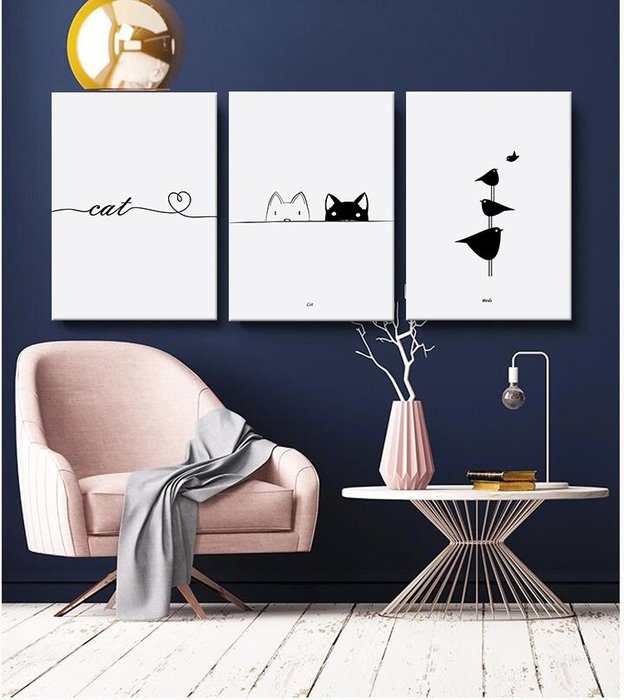 居家裝飾 掛畫 無痕釘安裝 不傷墻面 北歐風格客廳裝飾畫現代簡約小鳥貓咪沙發背景墻裝飾壁畫餐廳掛畫