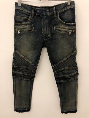 [ 義 品 苑 ] BALMAIN 破壞 刷紋 拉鍊設計 皺褶 騎士風 牛仔褲 W29 日本製 刷卡分期零利率