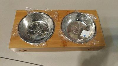寵物碗 雙碗組 竹製寵物碗架 貓碗 狗碗