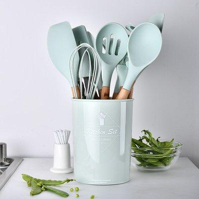 【】11件套水綠色矽膠廚具 收納桶裝木柄 不粘鍋鏟廚房用具烹飪套裝  #小雞蛋雜貨鋪&tian133