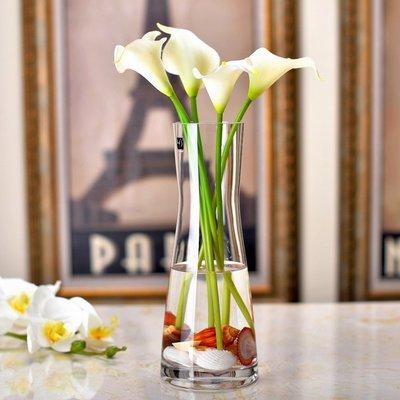 花瓶 歐式簡約玻璃花瓶創意透明人造水晶插花玻璃餐桌客廳裝飾花干花器