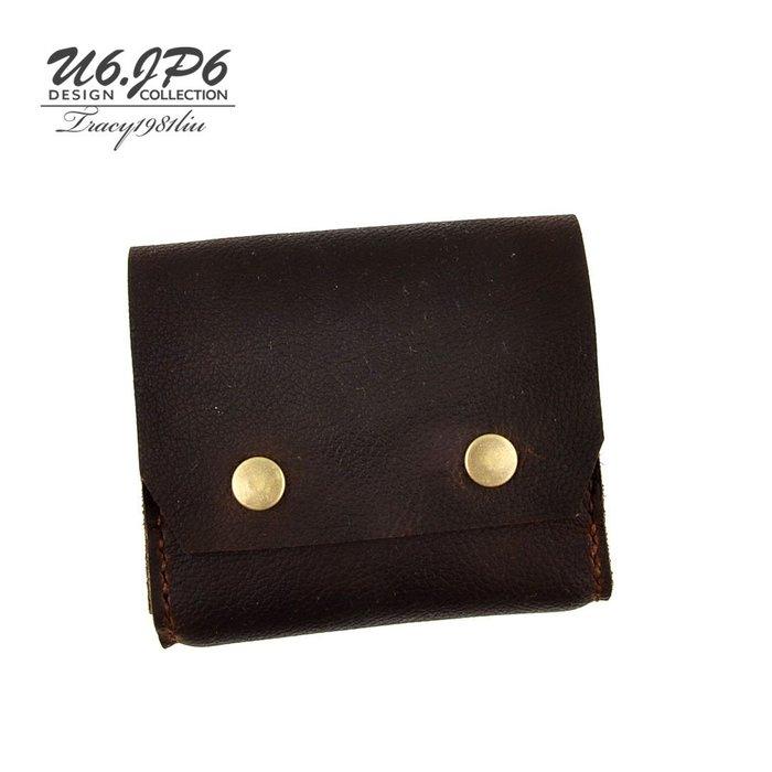 (U6.JP6 手工皮件) 純手工縫製進口皮天然手作皮革縫製 .男女適用精簡皮夾