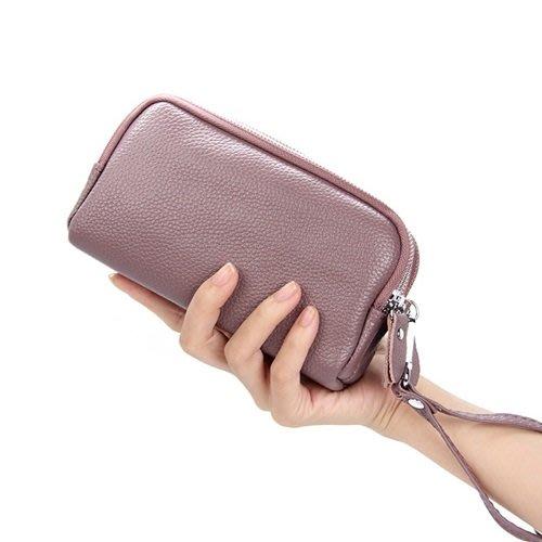 手拿包 真皮 錢包-三層長款純色牛皮男女包包5色73wz2[獨家進口][米蘭精品]