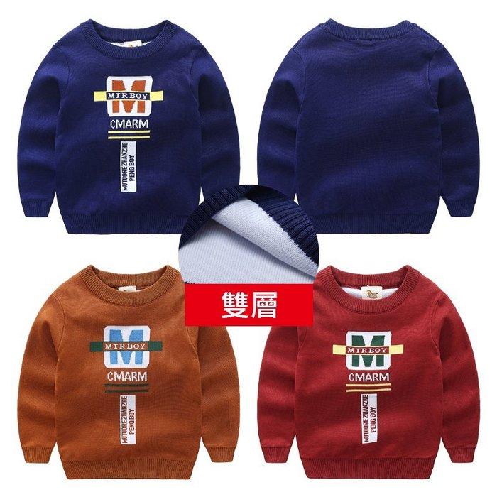 🚛NO.108童衣著👉上衣3色👈新款 男童90~130cm雙層加厚針織毛線長袖圓領上衣 針織毛線上衣
