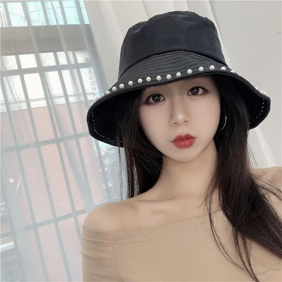 漁夫帽 盆帽-網紗珍珠鑲邊夏季女帽子2色73xu32[獨家進口][米蘭精品]