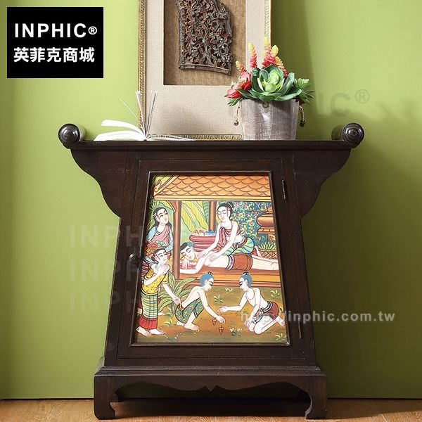 INPHIC-玄關櫃子門廳櫃彩繪藤編東南亞傢俱泰國客廳泰式_FMG3