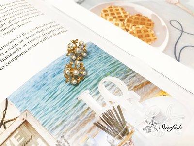 【海星 Starfish】|925銀針|🍃低調霧金色葉子珍珠點綴精巧耳環🍃