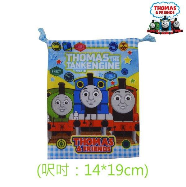 Thomas湯瑪士小火車上、下藍方格款雙面印圖款小束口收納袋(19*14cm)搶鮮特價49元/個