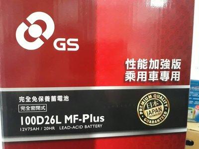 [新莊實體店面] ~ GS 統力/杰士 免保養 100D26L MF-Plus (80D26L 90D26L)