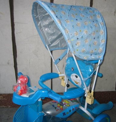 *童車王*全新品 後控 單人 親子可推 後控 兒童三輪車 兒童腳踏車  寶寶三輪車 腳踏車~ 有加裝遮陽蓬