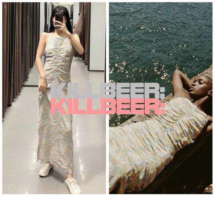 KillBeer:崔姬的花園派對之 歐美復古法式優雅嫩粉綠塗鴉花朵印花抓皺低胸垂墜開衩連身裙長洋裝A080216