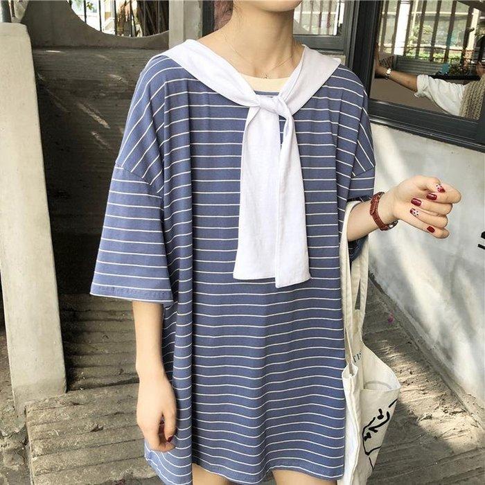 快時尚女裝~韓版中長款寬松條紋圓領T+披肩兩件套