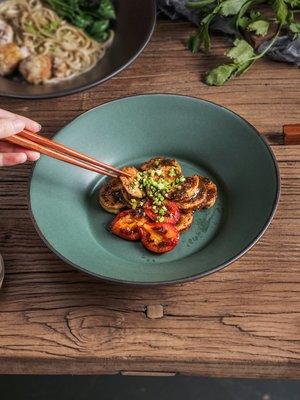 創意陶瓷日式深盤湯盤菜盤飯盤圓形盤子個性沙拉盤家用餐具