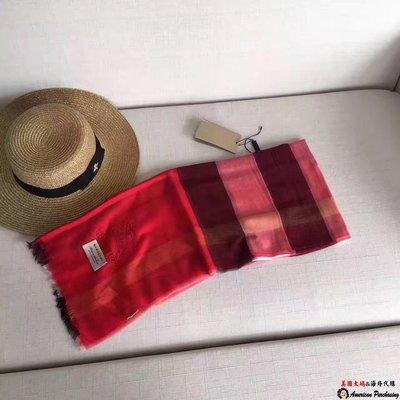 美國大媽代購 Burberry 巴寶莉 經典大格紋 時尚潮流 超薄款絲巾披肩 英倫時尚 美國outlet代購