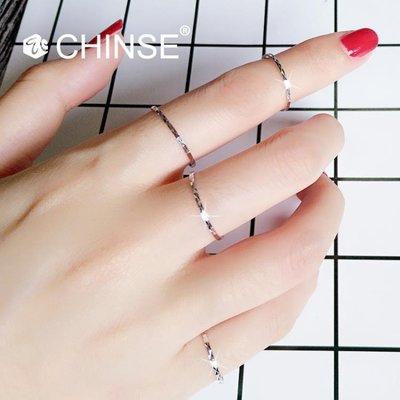925純銀超細切面網紅關節戒指學生女chic 極簡單日韓風小指尾戒閃
