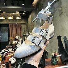 Empress丶韓國女鞋圓頭淺口漆皮皮帶扣組合羅馬鞋亮面單鞋低跟鞋A08F