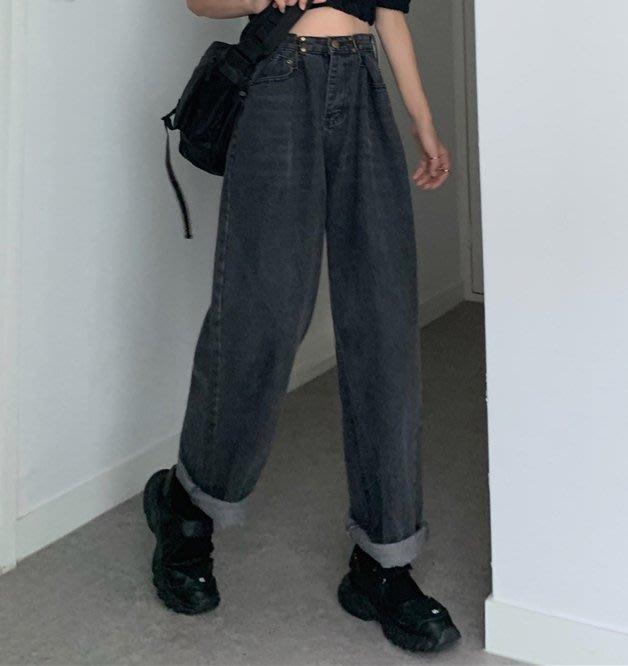 SeyeS  fruits街頭個性簡約自然風水洗腰扣頭設計牛仔直筒褲(有大尺碼)