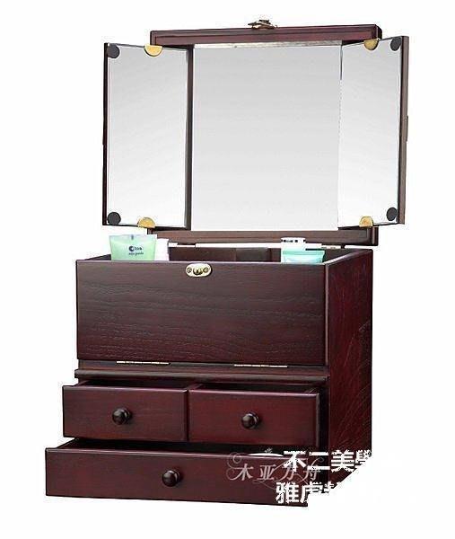 【格倫雅】^大容量 酒紅色 實用木質化妝箱/化妝盒 結婚禮物 G7140R1881[D