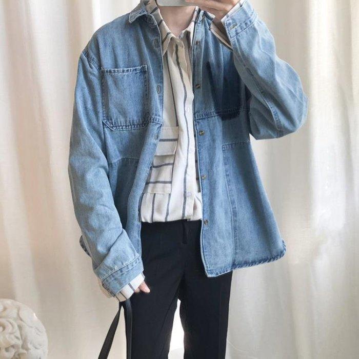 男牛仔襯衫外套寬鬆休閒時髦外套上衣韓版秋季襯衣外穿