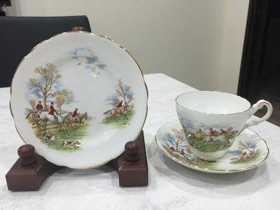【達那莊園】英國製骨瓷器 Regency攝政 hunting scene狩獵場景 下午茶咖啡 茶杯盤組