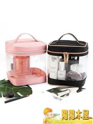 化妝收納包透明加厚PVC大容量簡約化妝包便攜護膚品旅行收納包專業化妝箱女【陽陽木屋】