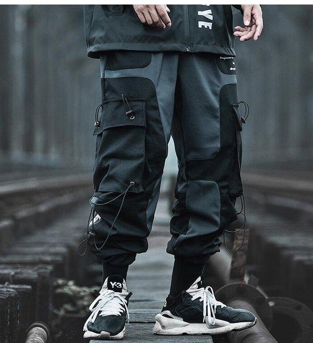 FINDSENSE X 男士  直筒 休閑 機能風工裝褲男薄款黑色潮牌學生束腳哈倫褲子