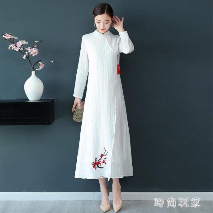 改良式旗袍 復古改良旗袍絲麻刺繡連身裙中國風文藝禪意洋裝zzy8467