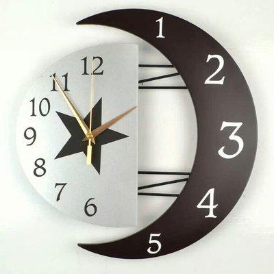 現代裝飾創意掛鐘靜音客廳鐘錶個性時鐘簡約掛錶時尚臥室日月