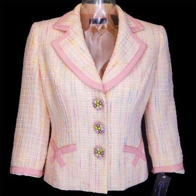 美國品牌Context粉色毛呢7分袖外套 袖口可反摺
