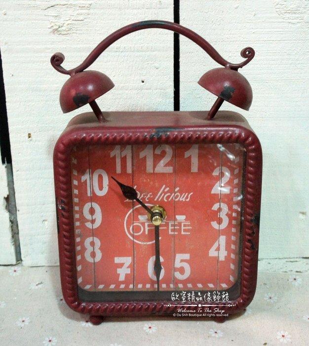 ~*歐室精品傢飾館*~Loft工業 美式鄉村 鐵製 仿舊 復古 數字 雙耳造型 桌鐘 時鐘 紅色 擺飾 裝飾~新款上市~